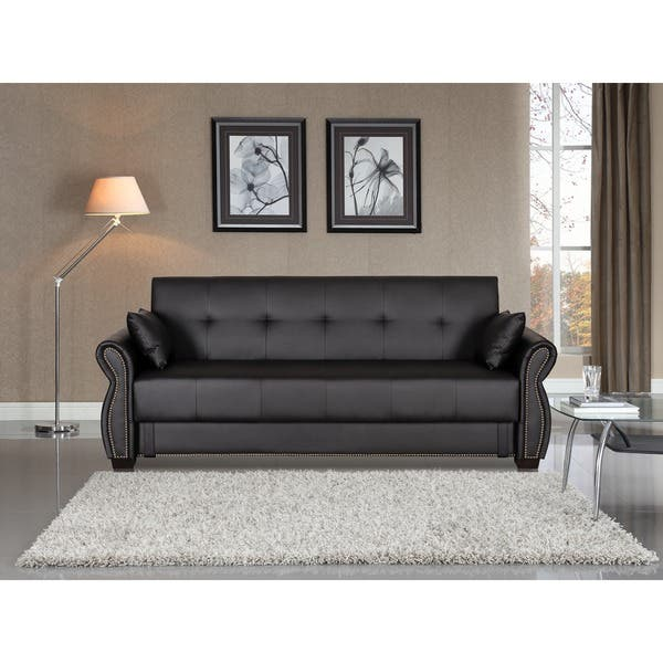 Shop Serta Ainsley Faux Leather/Foam Convertible Sofa with ...