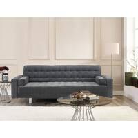Serta Rivera Grey Fabric/Wood Convertible Sofa