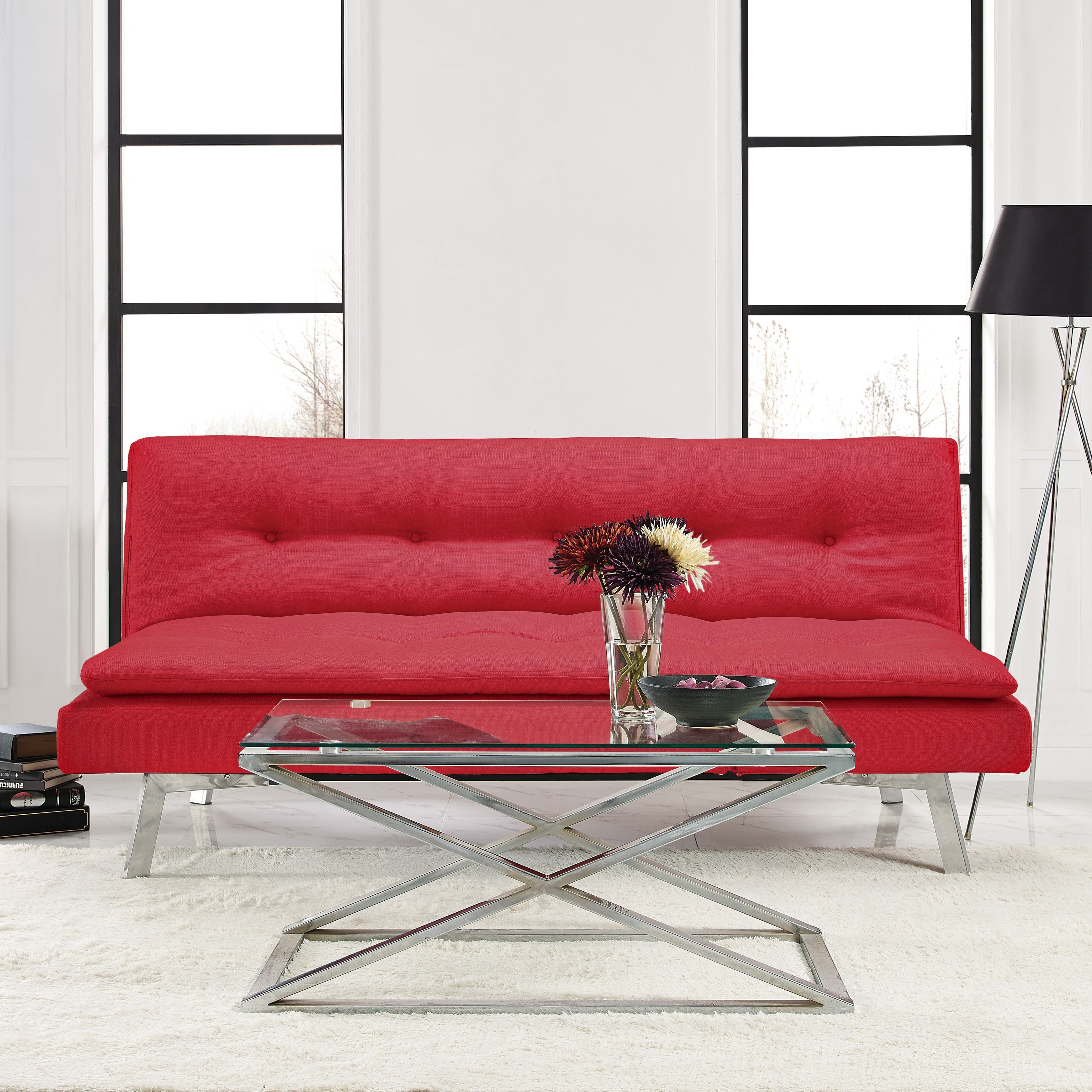 Serta Salinas Fabric/Foam Convertible Sofa with Stainless...