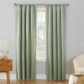 Sun Zero Atticus Metallic Jacquard Blackout Rod Pocket Curtain Panel