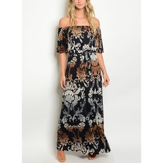 JED Women's Off Shoulder Printed Maxi Dress with Waist Tie