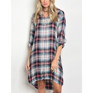 JED Women's Button Down Plaid Tunic Asymmetrical Casual Dress