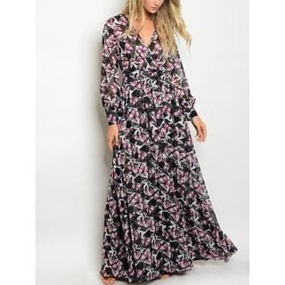 JED Women's Long Sleeve Butterfly Print Chiffon Maxi Dress