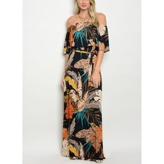 JED Women's Stretchy Fabric Off Shoulder Printed Maxi Dress