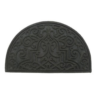 "Stephan Roberts Gibraltar Scroll Slice Stone Recycled Rubber Doormat 18"" x 30"""