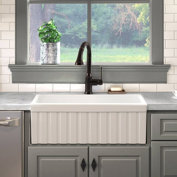 Maykke Victoria 30 Inches Fluted Fireclay Farmhouse Kitchen Sink