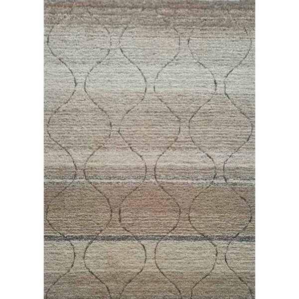 Soft Shag Multi Beige Polyester Shag Area Rug with Cotton Backing - 5' x 7'
