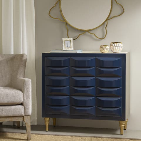 "Madison Park Savannah Navy 3-Drawer Chest - 36""w x 14.75""d x 34.25""h"
