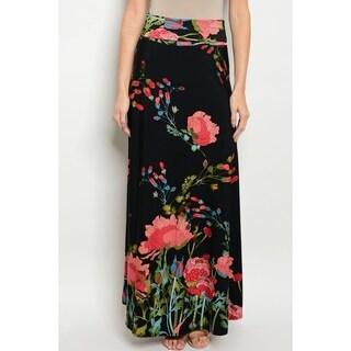 JED Women's High Waist Floral Print Maxi Skirt