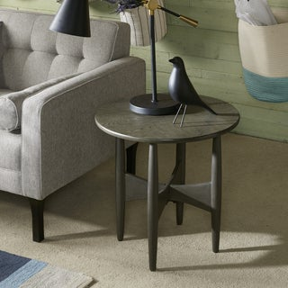 Ink+Ivy Ellipse Grey Reclaimed Oak Round End Table