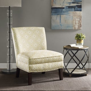 Madison Park Alex Yellow Slipper Fabric Wood Accent Chair