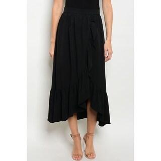 JED Women's Elastic High Waist Ruffled Black Midi Skirt