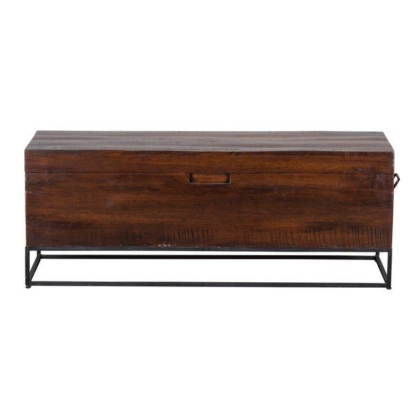 Terrance Brown Solid Wood 46 Inch Storage Bench Free