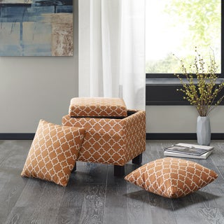 Madison Park Allison Orange Square Storage Ottoman with Pillows