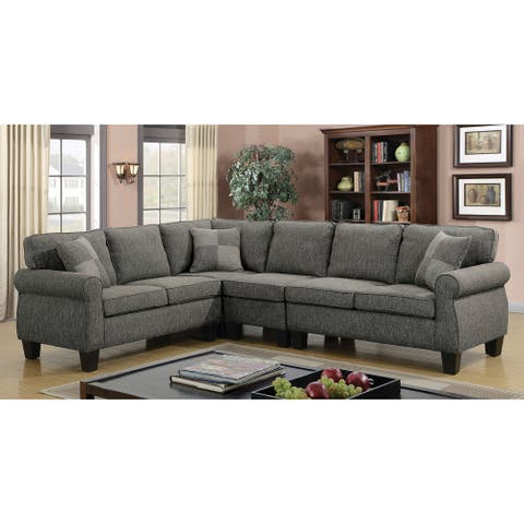 Furniture of America Nele Transitional Linen Fabric L-shaped Sectional Sofas