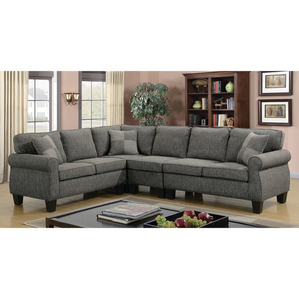 Furniture of America Herena Linen-like L-shaped Sectional