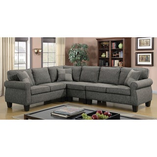 Furniture of America Nele Transitional Linen Fabric L-shaped Sectional