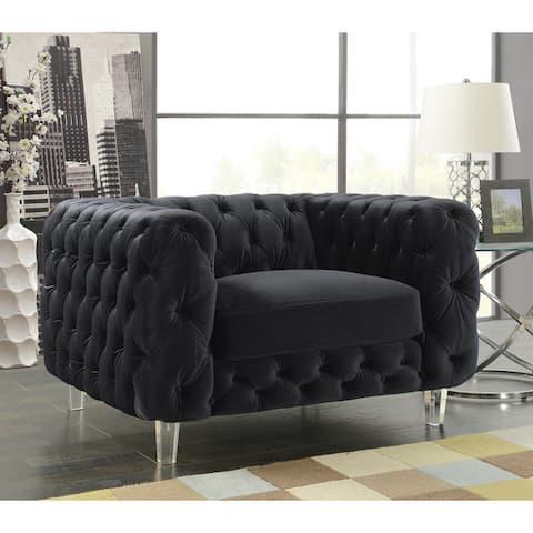 Chic Home Apollo Modern Contemporary Tufted Velvet Down MIx Cushions Club Chair
