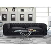 Chic Home Apollo Modern Contemporary Tufted Velvet Down MIx Cushions Sofa
