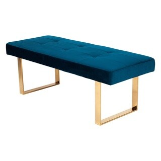 Chic Home Scott Velvet Modern Contemporary Tufted Seating Square Leg Bench, Blue
