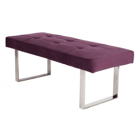 Chic Home Scott Velvet Modern Contemporary Tufted Seating Square Leg Bench, Purple