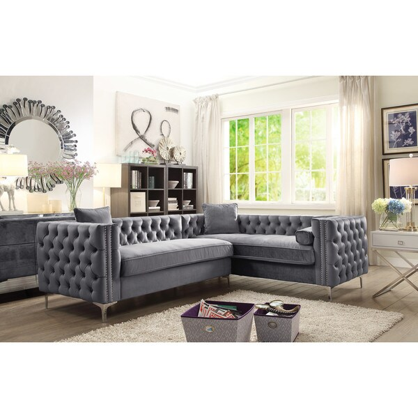 Chic Home Susan Silvertone Foam/Metal/Velvet Right Facing Sectional Sofa W/