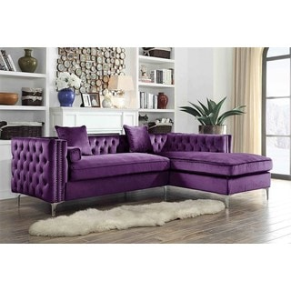 Chic Home Monet Purple Velvet/Silvertone Nail-head Trim Button-tufted Right-facing Sectional