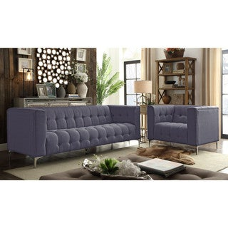 Chic Home Gotti Linen Modern Contemporary Biscuit Tufted Silvertone Metal Y leg Sofa