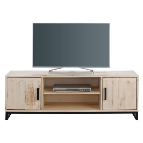Santana Distressed Cream Pine/Metal 2-door 3-shelf TV Lowboard