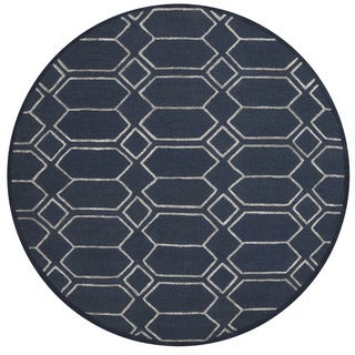 Alexander Home Carolyn Indigo/Silver Wool/Viscose Hand-hooked Round Diamond Rug (7'6 x 7'6)