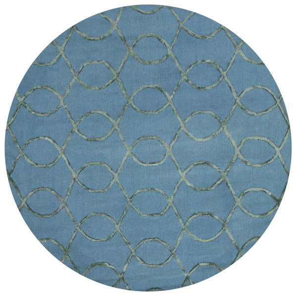 "Alexander Home Carolyn Teal/Green Viscose/Wool Hand-hooked Round Contemporary Area Rug - 7'6"" x 7'6"" Round"