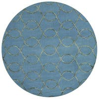 Alexander Home Carolyn Teal/Green Viscose/Wool Hand-hooked Round Contemporary Area Rug - 7'6 x 7'6
