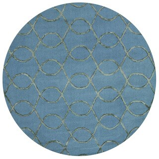 Alexander Home Carolyn Teal/Green Viscose/Wool Hand-hooked Round Contemporary Area Rug (7'6 Round)