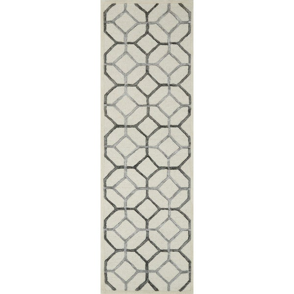 "Alexander Home Hand-hooked Carolyn Ivory/Grey Wool and Viscose Rug - 2'3"" x 7'6"""