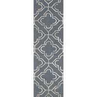 Alexander Home Hand-hooked Carolyn Slate/Grey/Taupe Wool and Viscose Rug - 2'3 x 7'6