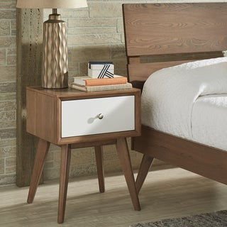 Sylvia Mid-Century White and Walnut 1-Drawer Nightstand by iNSPIRE Q Modern
