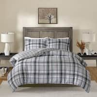Madison Park Conner Black/ Teal Cotton Yarn Dyed Flannel Reversible Duvet Cover Set