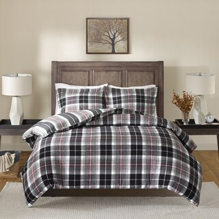 Madison Park Yates Black/ Red Cotton Yarn Dyed Flannel Reversible Comforter Set
