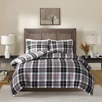 Madison Park Yates Black/ Red Cotton Yarn Dyed Flannel Reversible Duvet Cover Set