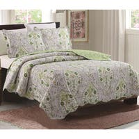 Juliet Sage Floral 3 Piece Reversible Quilt Set