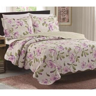 Juliet Lavender/Off white Floral 3 Piece Reversible Queen Size Quilt Set