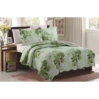 Grace Green Floral Queen Size 3 Piece Reversible Quilt Set