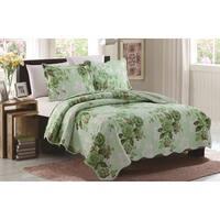 Grace Green Floral Queen Size 3 Piece Reversible Quilt Set
