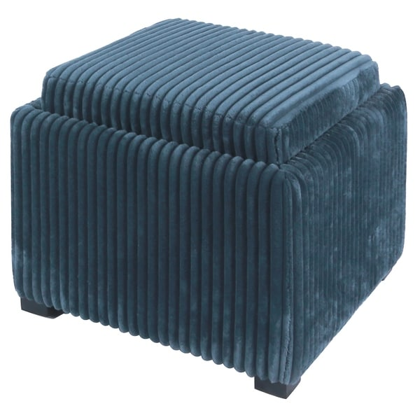 Cameron Square Storage Ottoman With tray, Midnight Thames Blue
