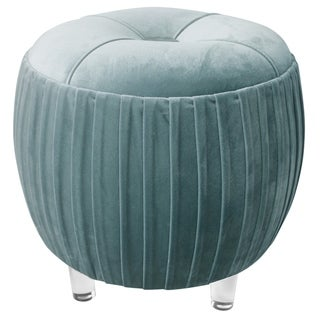 Helena Small Tufted Round Ottoman With Acrylic Legs