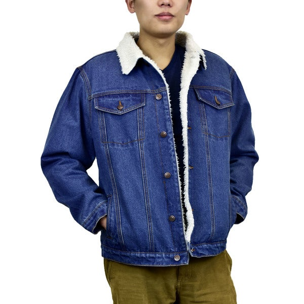 Victory Outfitters Mens Sherpa Lined Washed Denim Jacket