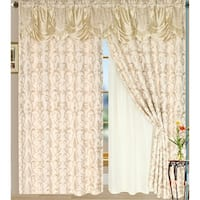 "Luxury Sheered Curtains and Valance 84-inch (Set of 2) - 84""l x 54""w"
