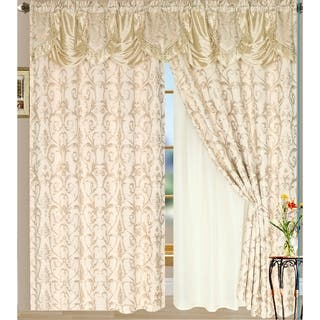 Luxury Sheered Curtains And Valance 84 Inch Set Of 2
