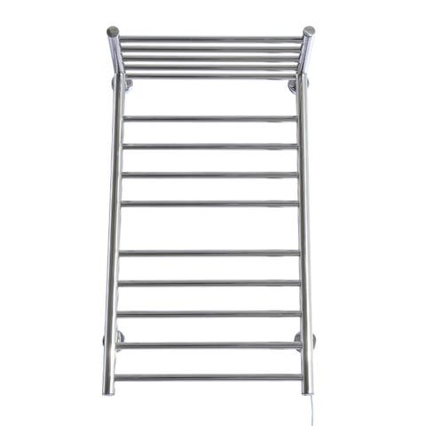 HomCom 9-Bar Stainless Steel Wall Mounted Heated Towel Warmer Rack with Shelf