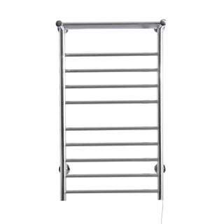 HomCom Nine Bar Stainless Steel Wall Mounted Heated Towel Warmer Rack with Shelf